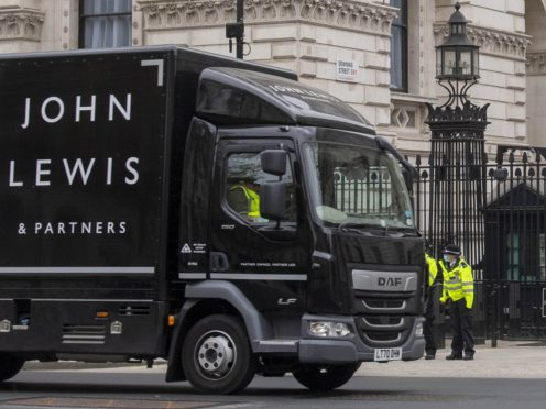 John Lewis lorry outside of 10 Downing Street (Paul Grover/PA)