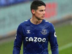 James Rodriguez will not feature in Everton's clash with Southampton at Goodison Park (Peter Byrne/PA).
