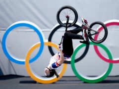 Great Britain's Charlotte Worthington on her way to winning a gold medal in the women's BMX freestyle on day nine of Tokyo 2020 (Mike Egerton/PA Images).