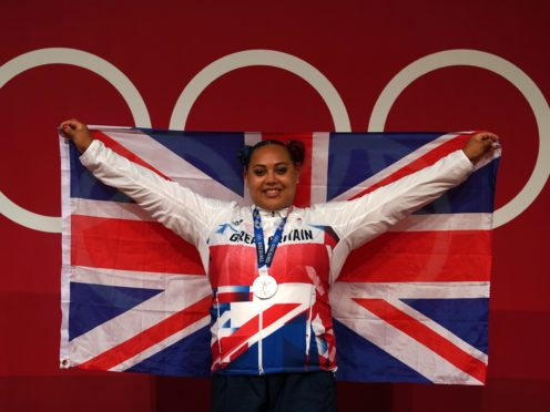 Great Britain's Emily Campbell with her Olympic silver medal in the women's weightlifting (PA)