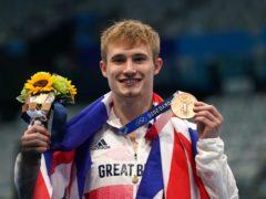 Great Britain's Jack Laugher celebrates on the podium (Martin Rickett/PA)
