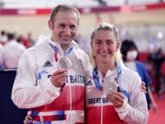 Great Britain's Laura Kenny and Jason Kenny with their silver medals at the Izu Velodrome (Danny Lawson/PA)