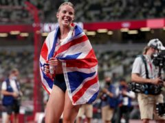 Keely Hodgkinson celebrates her silver medal in the women's 800m, Team GB's first of the Games on the track (Martin Rickett/PA Images).