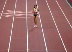 Katarina Johnson-Thompson limped over the line after injuring her calf before pulling out of the heptathlon (Martin Rickett/PA)