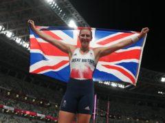 Great Britain's Holly Bradshaw celebrates pole vault bronze (Martin Rickett/PA)