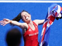 Laura Unsworth celebrates Great Britain's bronze after a thrilling 4-3 win over India (Adam Davy/PA Images).