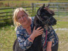 Helen Macdonald holds onto Geronimo the alpaca (Ben Birchall/PA)
