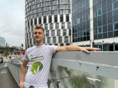 Free-climber George King-Thompson prepares to scale the 23-storey Unex Tower in Stratford, east London (Laura Parnaby/PA)