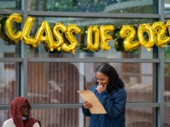 Students react to their GCSE results (Dominic Lipinski/PA)