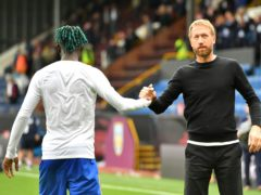 Brighton's Yves Bissouma greets manager Graham Potter after the final whistle (Anthony Devlin/PA)