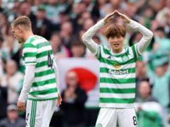 Celtic's Kyogo Furuhashi celebrates another goal (Steve Welsh/PA)