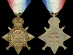 The medal won by the first British soldier to be killed in action during the First World War (Dix, Noonan, Webb/PA)