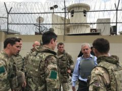 British ambassador to Afghanistan Sir Laurie Bristow, second right, with Government staff in Kabul (FCO/PA)