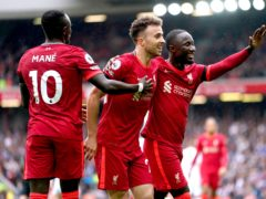 Liverpool's Diogo Jota (centre) celebrates after scoring the opener in the defeat of Burnley (Mike Egerton/PA)
