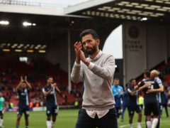 Carlos Corberan acknowledges the fans after the win at Sheffield United (Mark Kerton/PA)