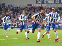Brighton's Shane Duffy celebrates scoring the opening goal (Kieran Cleeves/PA)