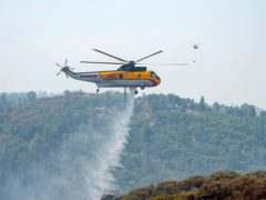 A Croman Sikorsky S-61A helicopter drops water on the south end of the Caldor Firein California (Sara Nevis/The Sacramento Bee via AP)