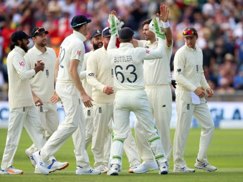 James Anderson (second right) had India 21 for three at one point (Nigel French/PA)