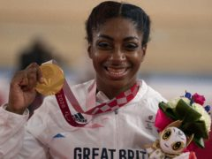 Handout photo dated 27/08/2021 provided by ParalympicsGB/imagecomms of Great Britain's Kadeena Cox celebrates winning Gold in the Women's C4-5 500m Time Trial at Izu Velodrome during day three of the Tokyo 2020 Paralympic Games in Japan. Picture date: Friday August 27, 2021.