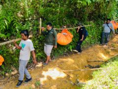 Conservationists carry the tigers' remains (Tuah Albanna/AP)