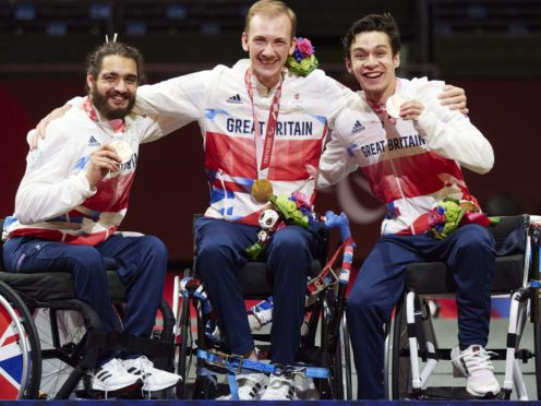 British fencers Dimitri Coutya, Piers Gilliver and Oliver Lam-Watson celebrate bronze (ParalympicsGB/imagecomms)