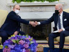 President Joe Biden shakes hands with Israeli Prime Minister Naftali Bennett (Evan Vucci/AP)