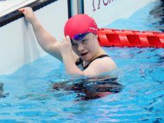 Great Britain's Maisie Summers-Newton celebrates winning gold (Tim Goode/PA)