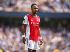Pierre-Emerick Aubameyang tried to rally Arsenal after their dismal defeat at Manchester City (Nick Potts/PA)