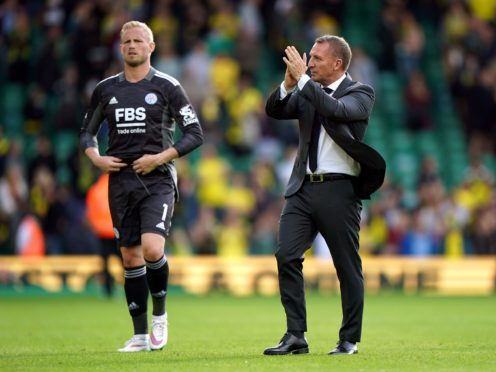 Brendan Rodgers applauds the Leicester fans at Norwich (Joe Giddens/PA)