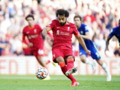 Mohamed Salah equalised for Liverpool from the penalty spot at Anfield (Mike Egerton/PA)