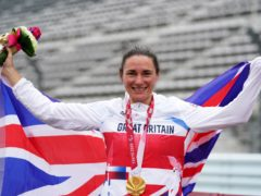 Great Britain's Sarah Storey celebrates with the gold medal in the Women's C5 Time Trial at Fuji International Speedway (Tim Goode/PA)