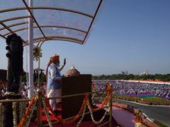 Indian Prime Minister Narendra Modi addresses the gathering during Independence Day celebrations at the historic 17th-century Red Fort in New Delhi, India (Manish Swarup/AP)