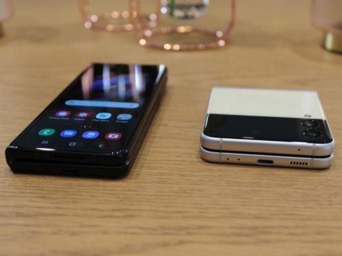 The Samsung Galaxy Z Fold3 and Flip3 smartphones (Martyn Landi/PA)