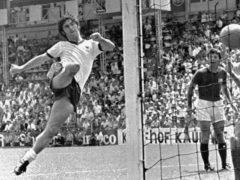 Gerd Muller scores the winner against England in the 1970 World Cup quarter-final (AP)