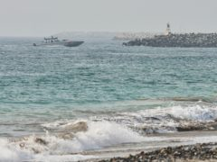 An Emirati Coast Guard vessel patrols off Fujairah, United Arab Emirates, August 4, 2021 (Jon Gambrell/AP)