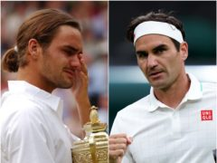 Roger Federer in 2003 (left) and 2021 (Rebecca Naden/John Walton/PA).