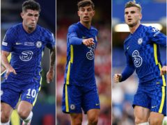 Christian Pulisic, left, Kai Havertz, centre, and Timo Werner, right, are among the most expensive signings in Chelsea's history (PA)