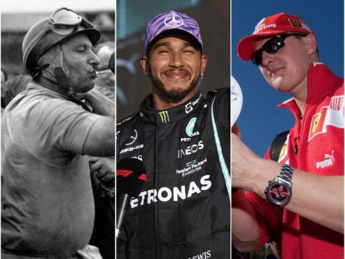 Juan Manuel Fangio, left, won five world titles while Lewis Hamilton, centre, and Michael Schumacher have seven each (Lars Baron/PA/FIA)