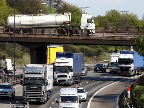 The DfT said up to 50,000 more HGV driving tests would be made available (PA)