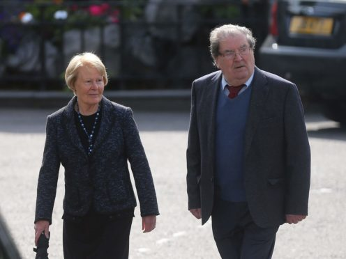 John Hume and his wife Pat arrive for the funeral of BBC broadcaster Gerry Anderson at St Eugene's Cathedral in Londonderry.