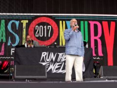 Labour leader Jeremy Corbyn speaks to the crowd from the Pyramid stage at Glastonbury Festival in 2017 (Yui Mok/PA)