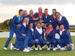 Europe celebrate winning the Ryder Cup at Le Golf National, Paris (David Davies/PA)