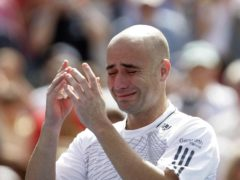 Andre Agassi, pictured, shows his emotion after retiring following a loss to Benjamin Becker at the US Open in 2006 (PA)