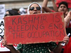 Demonstrators during a Freedom For Kashmir protest against the Indian government (PA)