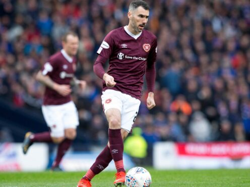 Michael Smith opened the scoring for Hearts against Livingston (Jeff Holmes/PA)