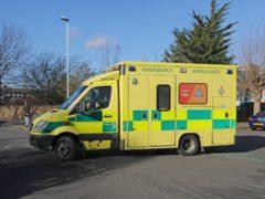 A South East Coast ambulance outside Worthing Hospital (Steve Parsons/PA)
