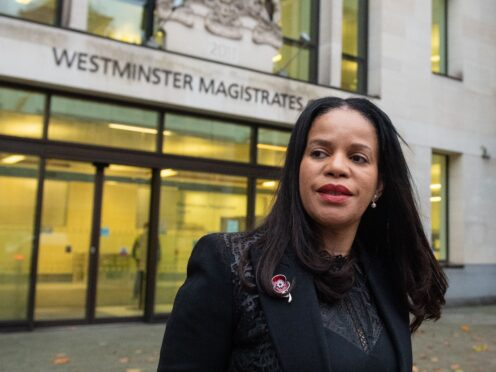 Leicester East MP Claudia Webbe leaving court (Dominic Lipinski/PA)