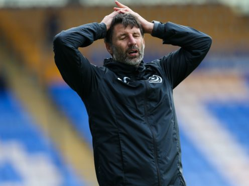 Danny Cowley's Portsmouth left MK Dons without a point (Barrington Coombs/PA)