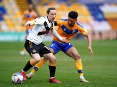 Mansfield's Tyrese Sinclair (right) was sent off for violent conduct in the goalless draw with Leyton Orient (Zac Goodwin/PA Images).