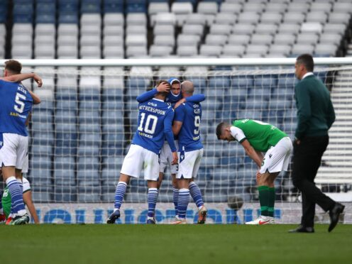 St Johnstone celebrate victory over Hibs in the Scottish Cup final (Andrew Milligan/PA)